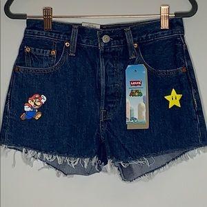 NWT LEVI'S Mario Brothers Cutoff Shorts. Sz 25